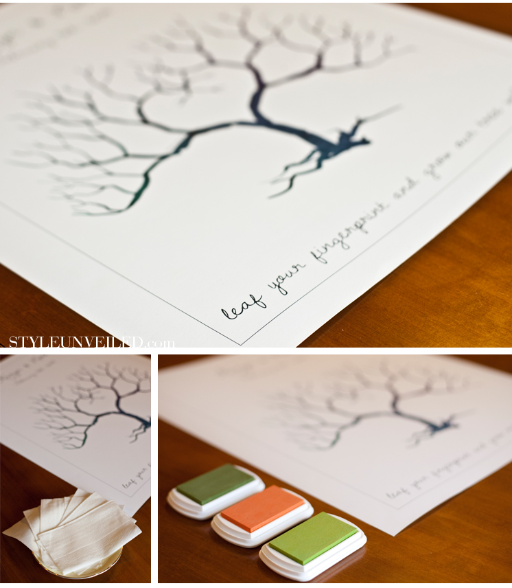 Colorado wedding trend fingerprint guest books for Wedding tree guest book free template