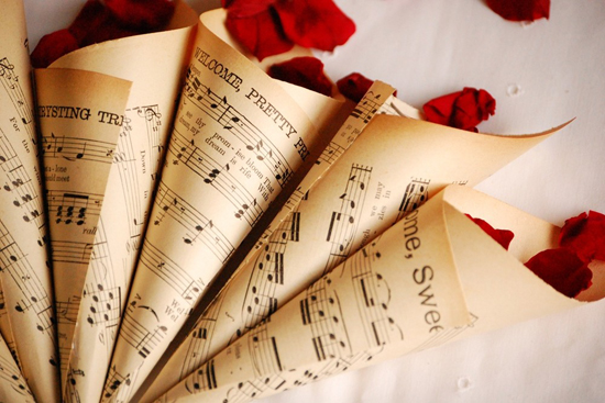 sheet music petal cones Newsprint Wedding Details
