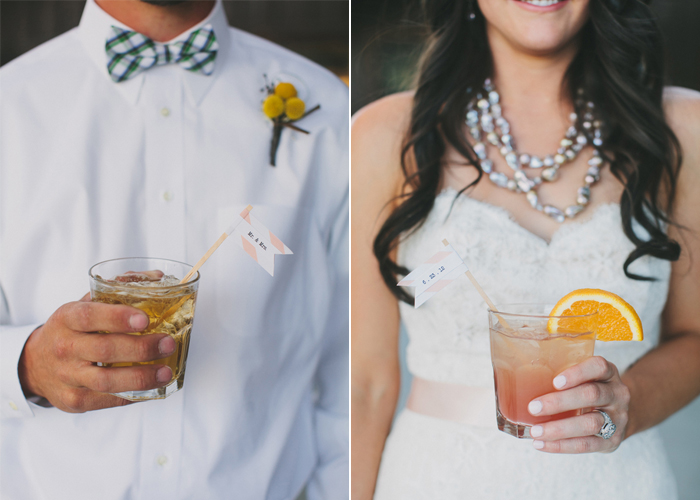his and her cocktails Lauren and Nates Whimsical Ranch Wedding Fete