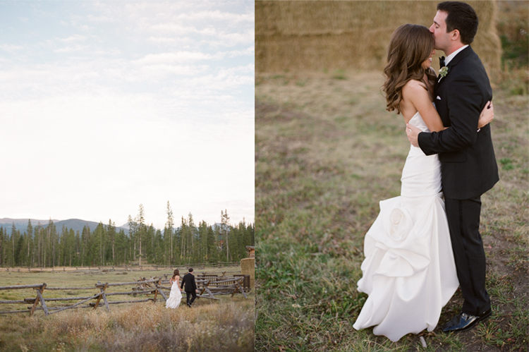 wedding couple colorado ranch Jennifer and Robs Fall Wedding at Devils Thumb Ranch