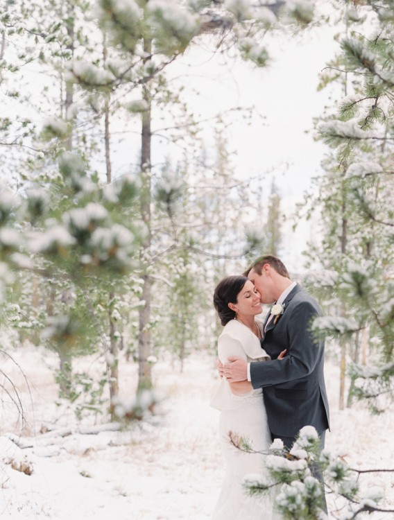 W084 Jennifer Austin 051 568x750 Real Winter Wedding   Devils Thumb Ranch