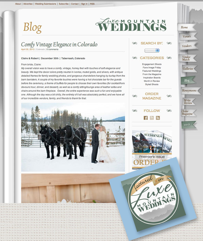 December Colorado wedding published Delighted to be Featured in Luxe Mountain Weddings