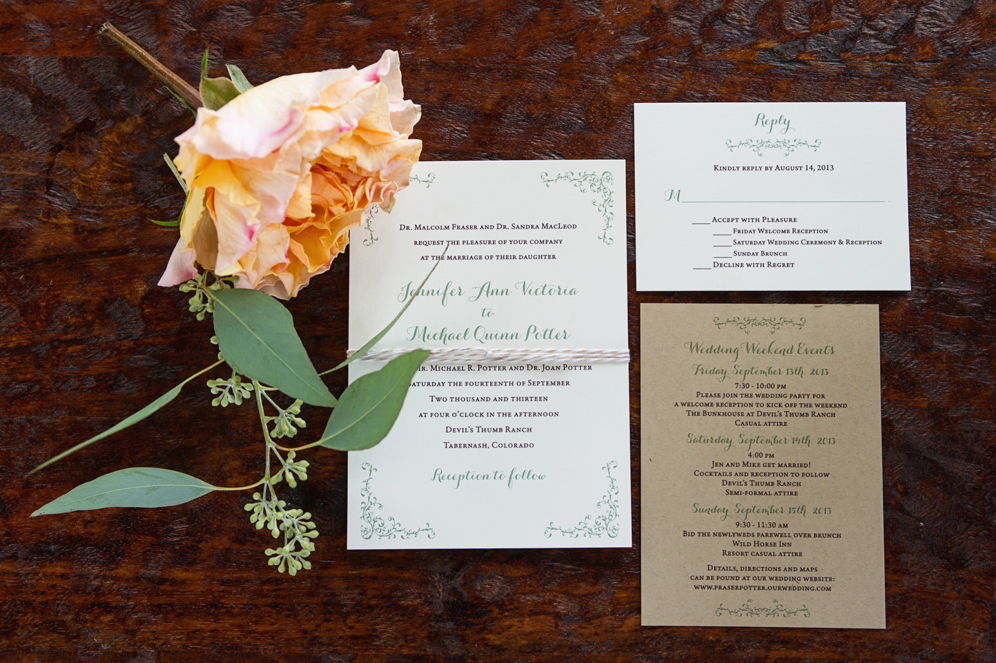 colorado mountain wedding invitations - Love This Day Events