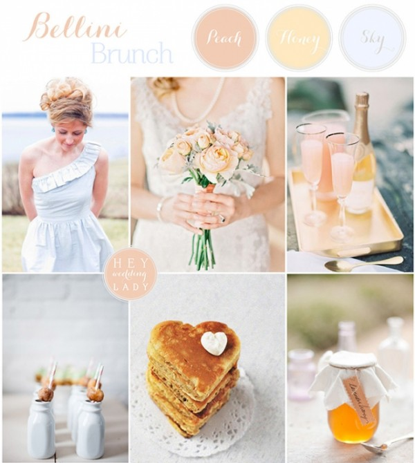bellini brunch peach yellow blue wedding inspiration board from hey wedding ladypp w660 h738 e1384317532497 The Brunch Wedding
