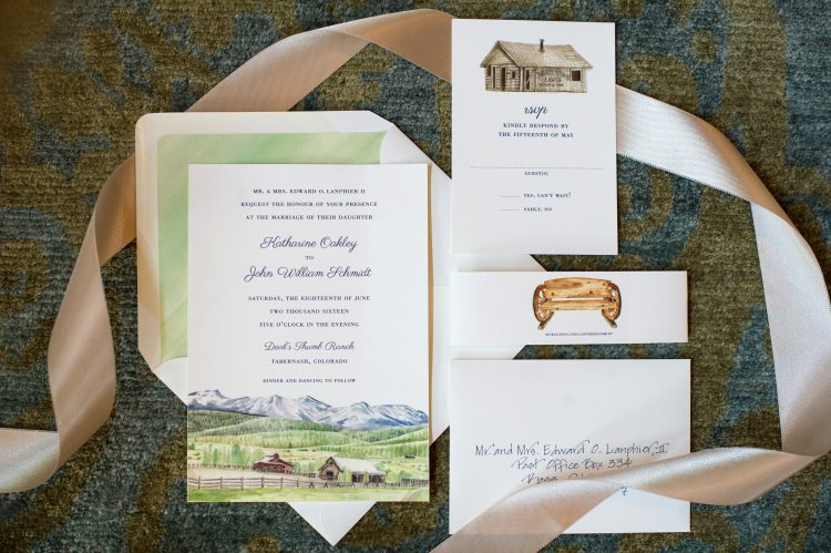 Custom Colorado Ranch Wedding Invitation