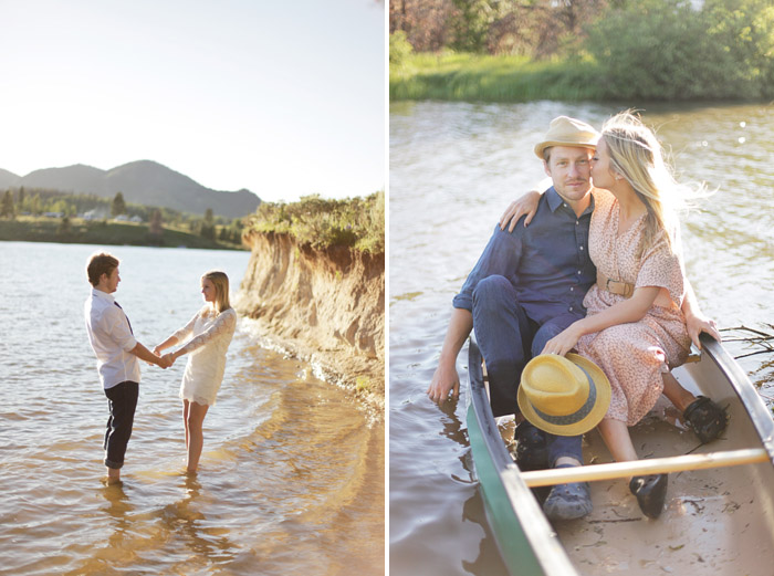 colorado engagement session with a canoe