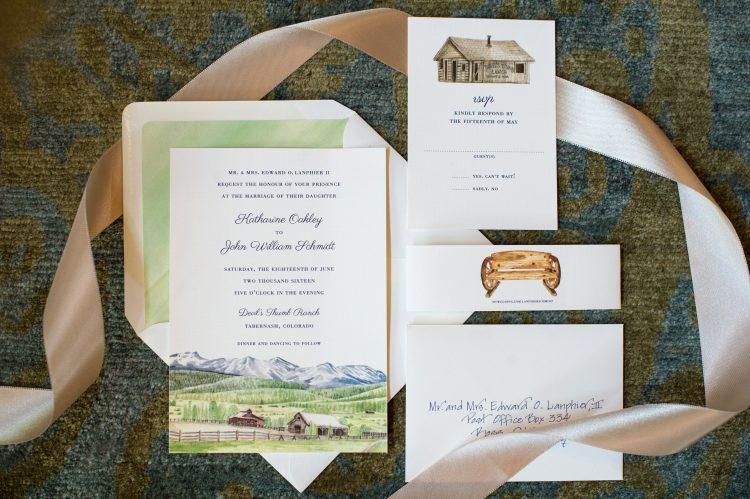 Custom Colorado Ranch Wedding Invitation